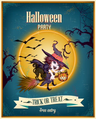 Halloween Vector illustration  with moon, witch, ribbon Vector Illustrations tree