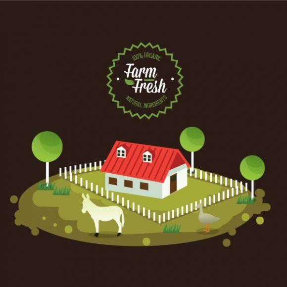 Farming vector illustration Vector Illustrations house