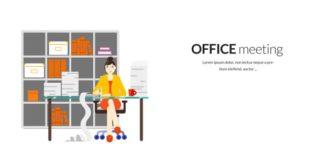 Office Meeting Vector Illustration Flat Style Vector Illustrations vector