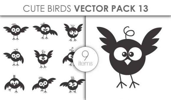 Vector Cute Birds Pack 13for Vinyl Cutter Vector packs vector