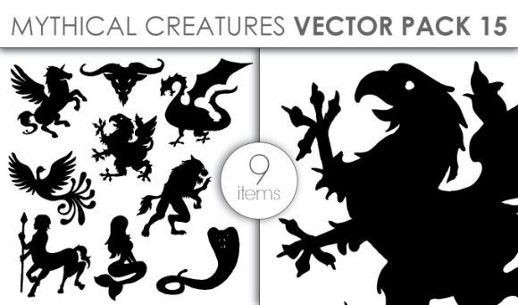 Vector Mythical Creatures Pack 15 Vector packs vector