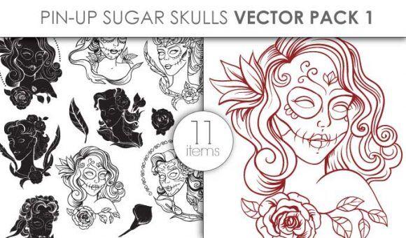 Vector Pin Up Sugar Skulls Pack 1 Vector packs vector
