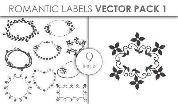 Vector Romantic Labels Pack 1 Vector packs vector