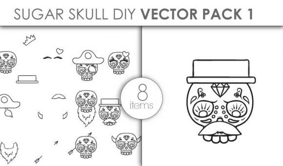 Vector Sugar Skull Kit Pack 1 Vector packs vector