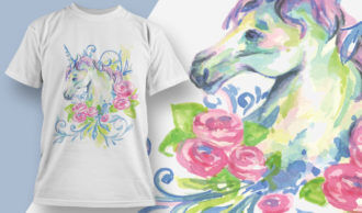 T-shirt Design 1821 – Unicorn with Roses T-shirt Designs and Templates vector