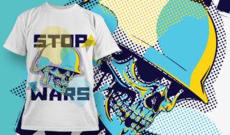 T-shirt Design 1880 – Stop Wars T-shirt Designs and Templates vector