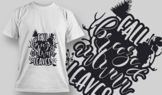 2127 Fall Breeze and Autumn Leaves 2 SVG Quote T-shirt Designs and Templates tree