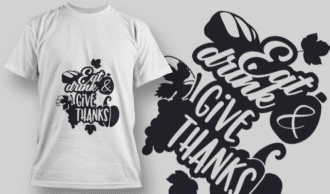 2137 Eat Drink Give Thanks SVG Quote T-shirt Designs and Templates leaf