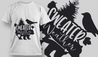 2142 Sweater Weather SVG Quote T-shirt Designs and Templates tree