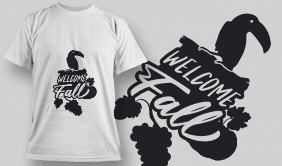 2202 Welcome Fall 1 SVG Quote T-shirt Designs and Templates vector