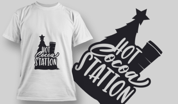 2261 Hot Cocoa Season T-Shirt Design T-shirt Designs and Templates tree