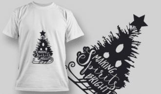 2271 Making Spirits Bright T-Shirt Design T-shirt Designs and Templates tree