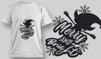 2273 Merry And Bright 3 T-Shirt Design T-shirt Designs and Templates vector