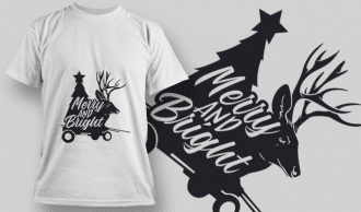 2276 Merry And Bright T-Shirt Design T-shirt Designs and Templates tree