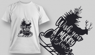2295 Wish You A Merry Christmas T-Shirt Design T-shirt Designs and Templates tree