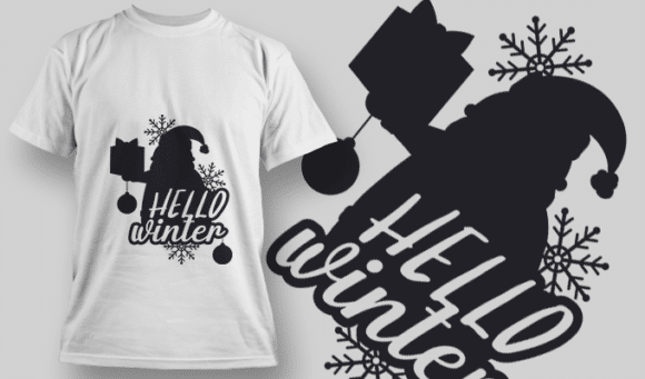 2314 Hello Winter T-Shirt Design T-shirt Designs and Templates vector