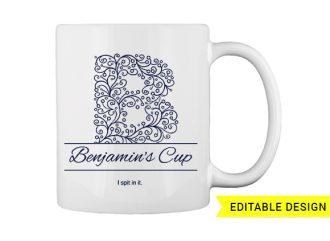 B letter monogram for mug printing T-shirt Designs and Templates printing