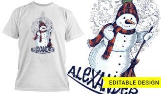 Christmas snowman with editable name T-shirt Designs and Templates christmas