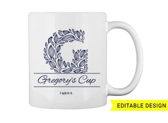 G letter monogram for mug printing T-shirt Designs and Templates floral