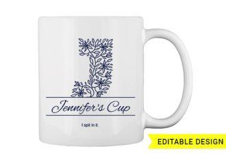 J letter monogram for mug printing T-shirt Designs and Templates floral