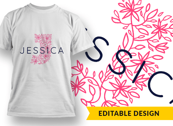 Ornate Letter J with Name Placeholder T-shirt Designs and Templates floral