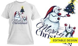 Merry Christmas T-shirt Designs and Templates tree