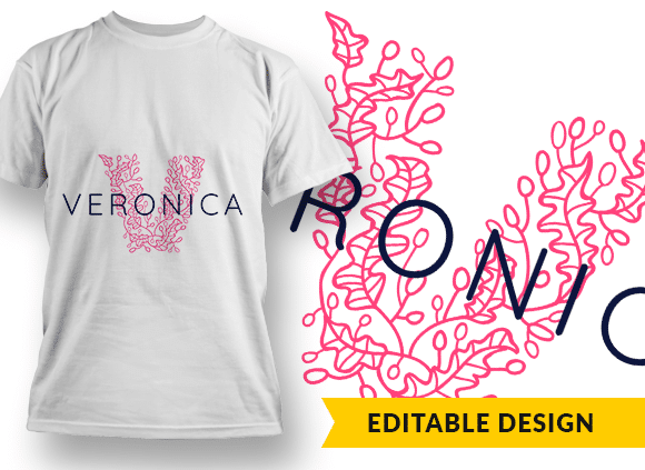 Ornate Letter V with Name Placeholder T-shirt Designs and Templates floral