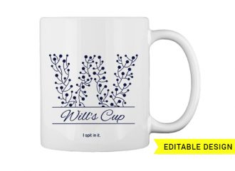 W letter monogram for mug printing T-shirt Designs and Templates floral