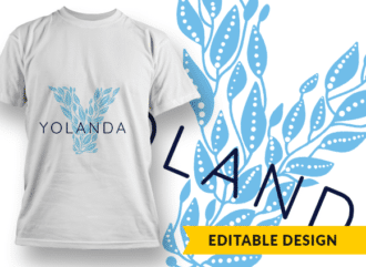 Ornate Letter Y with Name Placeholder T-shirt Designs and Templates floral