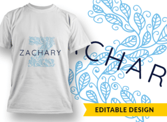 Ornate Letter Z with Name Placeholder T-shirt Designs and Templates floral