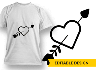 Heart Pierced By Arrow T-shirt Designs and Templates arrow