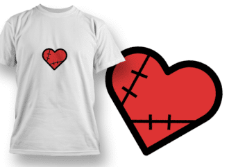 Stitched Heart T-shirt Designs and Templates heart