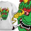 Dragon Smoking T-shirt Designs and Templates leaf