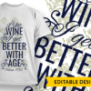 """Best partner in wine"" and Name placeholder T-shirt Designs and Templates funny"