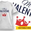 Mr. Valentine T-shirt Designs and Templates heart