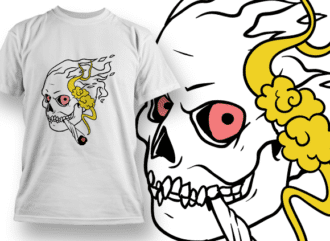 Flaming Skull Smoking Weed 2 Design Template T-shirt Designs and Templates leaf