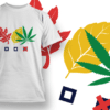 Flaming Skull Smoking Weed 1 T-shirt Designs and Templates leaf