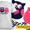 """Forever"" Owls T-shirt Designs and Templates funny"