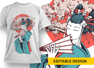 Geisha with a blossomed cherry tree T-shirt Designs and Templates sun