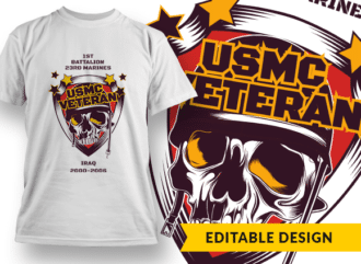 USMC Veteran (with placeholders) T-shirt Designs and Templates marine