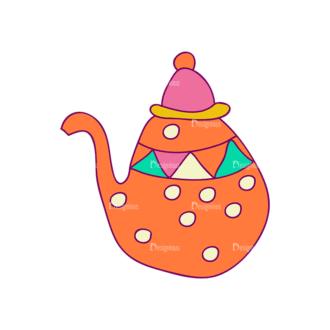 Designtnt Tea Doodle Vector Set 3 Vector Kettle 21 Clip Art - SVG & PNG vector