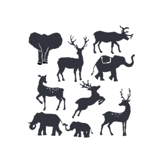 Animal Silhouettes 22 Vector Large Animals Clip Art - SVG & PNG vector