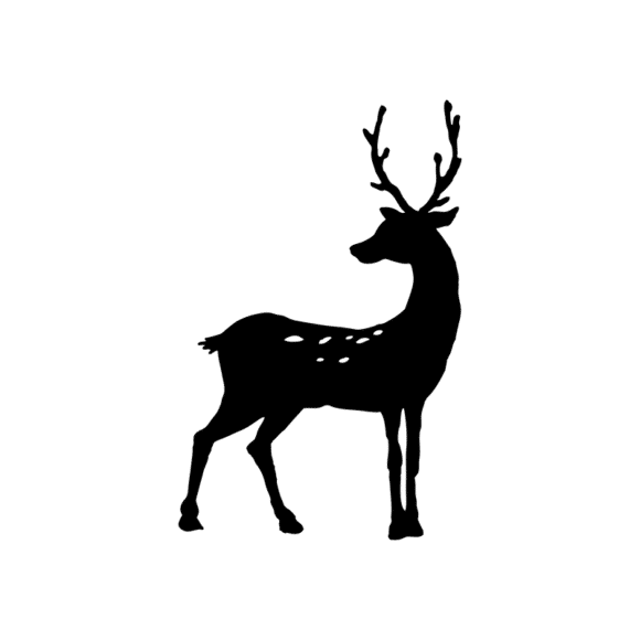 Animal Silhouettes 22 Vector Large Reindeer 09 Clip Art - SVG & PNG vector