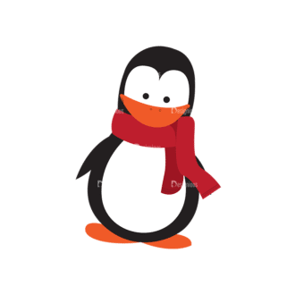 Christmas Kids And Animals Vector Penguin 10 Clip Art - SVG & PNG vector