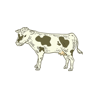Engraved Domestic Animals Vector 1 Vector Cow Clip Art - SVG & PNG vector