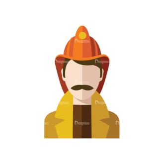 Flat Icons Professions Vector Set 1 Vector Fireman Clip Art - SVG & PNG vector