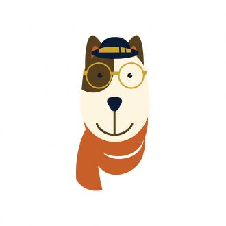 Hipster Animals Vector 3 Vector Dog Clip Art - SVG & PNG vector