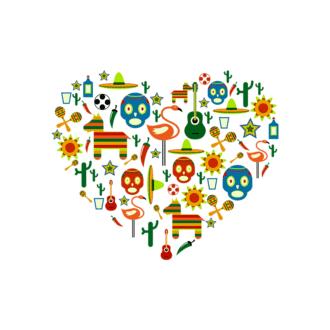 Mexico Love Heart Vector Set 1 Vector Heart Clip Art - SVG & PNG vector