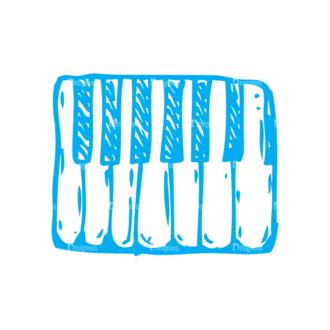 Sketch Music Instruments Set 1 Vector Keyboard Clip Art - SVG & PNG vector