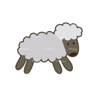 Cartoon Animals Vector Set 1 Vector Sheep Clip Art - SVG & PNG vector